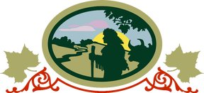 Reily township Logo featuring a man hiking by a river at sunset